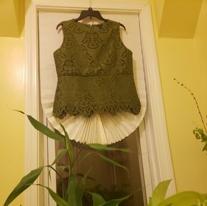 Ann Taylor Olive Green Lace top